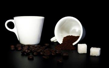 зерна, кофе, черный фон, кофейные, сахар, белая кружка, молотый кофе