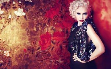 девушка, поза, блондинка, взгляд, лицо, певица, макияж, гвен стефани