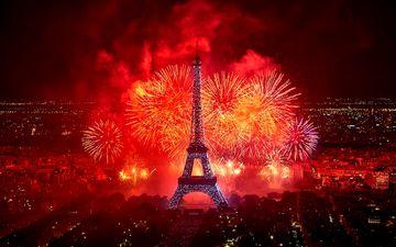 ночь, салют, праздник, фейерверк, эйфелева башня