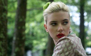 forest, scarlett johansson, red lipstick