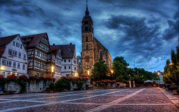 башня, здания, площадь, германия, бёблинген