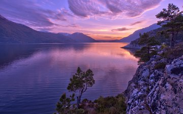 lake, mountains, sunset, norway, the fjord