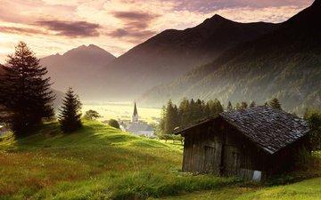 трава, горы, деревня, австрия, альпы