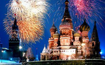 москва, салют, кремль, ночной город, фейерверк