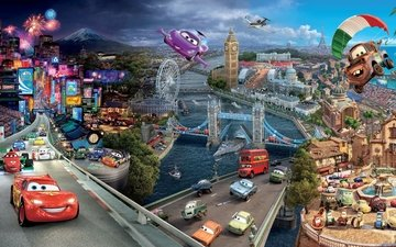 "the city, cartoon, machine, ""cars"", cars 2"