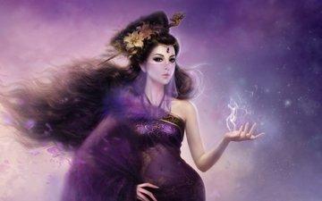 цветы, арт, девушка, дракон, дым, заколка, фея, волосы, лилии, магия, вуаль, ruoxing zhang - daiqisi, ruoxing zhang