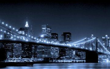 ночь, огни, мост, город, ночной город