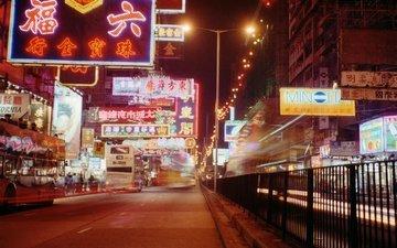 ночь, огни, город, движение, china town