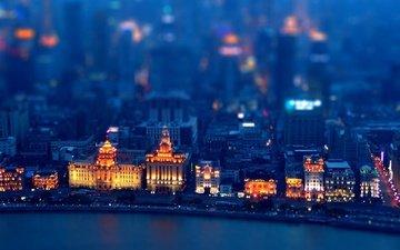 ночь, огни, город, побережье, китай, здания