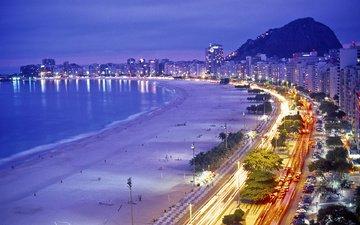 ночь, огни, вечер, море, пляж, побережье, залив