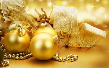 новый год, зима, елочные игрушки, золотой фон, новогодние игрушки, новогодний шар