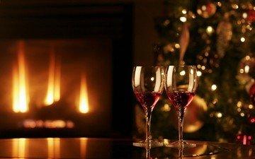 новый год, елка, зима, вино, камин, бокалы, праздник, уют