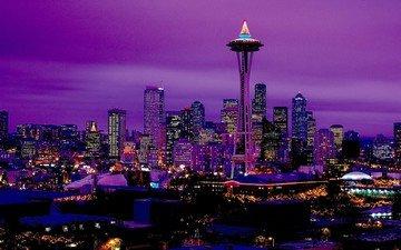 панорама, ночной город, сиэтл