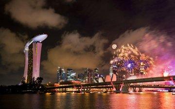 праздник, фейерверк, сингапур