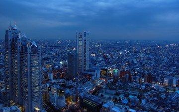 ночь, япония, небоскребы, мегаполис, токио