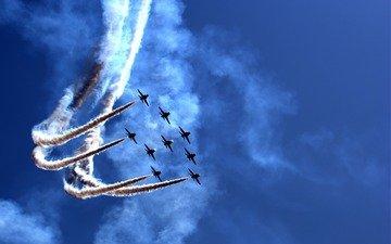 небо, самолеты, праздник, парад, воздушное шоу