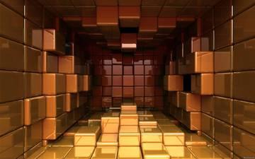 графика, зал, квадраты, кубы, 3д, комната из кубов, кубов