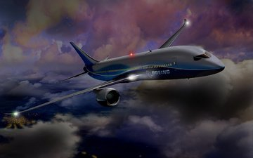 облака, самолет, боинг, турбина, 787