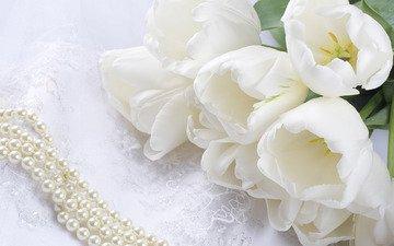 cvety, belye, tyulpany, buket, kruzhevo, busy, zhemchug