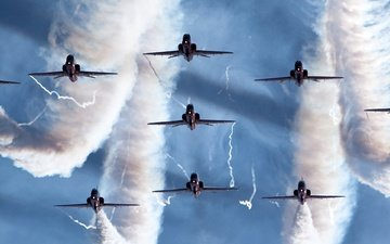 the sky, smoke, aircraft, stroy, aerobatics