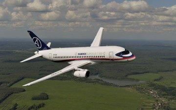 полет, высота, сухой, пассажирский самолет
