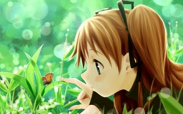 трава, лето, бабочка, аниме, девочка