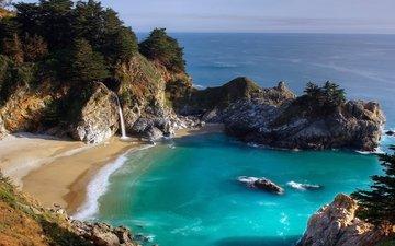 скалы, море, пляж, водопад, бухта