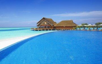 пляж, бунгало, тропики, мальдивы