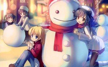 аниме, nastroenie, zima, snegovik, druzya