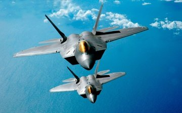 the sky, clouds, the plane, aircraft, fighter, two, nebo, aviaciya, letit, lajner, f-22 raptor