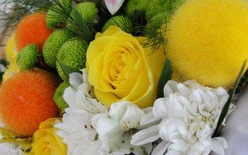 cvety, buket, zelenye, shariki