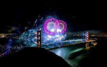 ночь, салют, мост, праздник