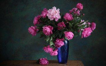 cvety, rozovye, buket, vaza, piony, sinyaya