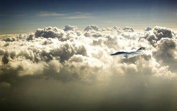 the plane, nebo, oblaka