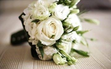 цветы, розы, стол, букет, belye, rozy, buket