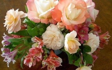 цветы, розы, ваза, лилии, belye, rozy, nezhnye, alye, композиция, букеты