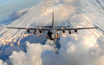 the plane, nebo, ac 130, oblaka
