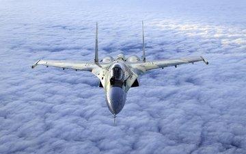 облака, полет, истребитель, ввс