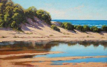 арт, рисунок, вода, море, песок, пляж, кусты, coastal beach dunes, artsaus