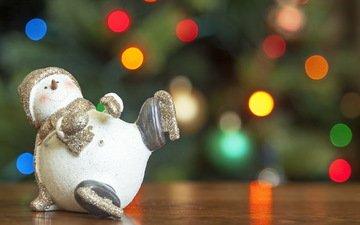 новый год, игрушка, снеговик, праздник, рождество