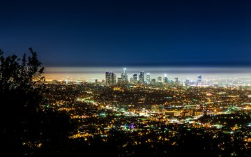 панорама, город, ночной город, сша, калифорния, лос анджелес