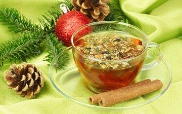 ветка, новый год, корица, ель, шарик, чашка, чай, шишки, встреча нового года, еловая ветка, елочная