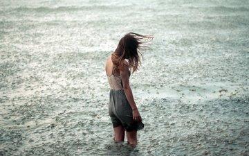 вода, девушка, настроение, одиночество, дождь, ветер