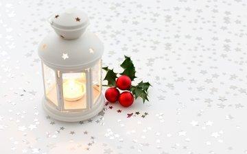 шары, красные, звездочки, свеча, елочные, подсвечник, фонарик, белы фон