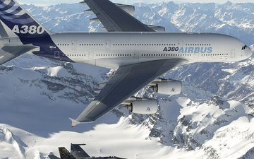 airbus, a380, polyot, oblaka