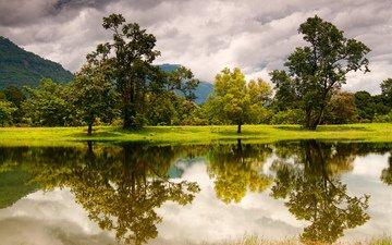 облака, деревья, озеро, горы, отражение, лаос