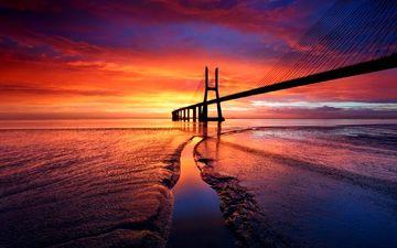 небо, закат, мост, пролив