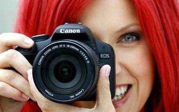 фокус камеры, девушка, фотоаппарат, объектив, красные волосы, канон