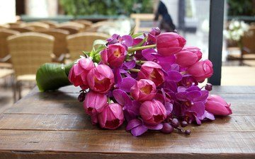 цветы, букет, тюльпаны, столик, орхидеи, cvety, listya, tyulpany, butony, orxidei, rozo, леспестки