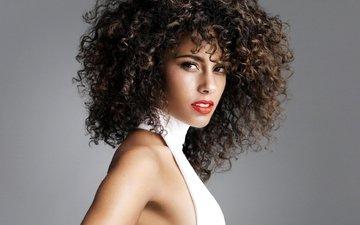 девушка, лицо, певица, макияж, красная помада, кудрявые волосы, алиша кис, алисия кис, певицв